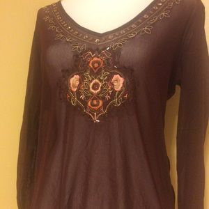 New York & Co Maroon Mesh Blouse w/ embroidery M